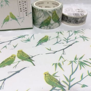 parrot washi tape 7M x 3cm tiger parrot pretty bird colorful pet bird wide masking tape watercolor big wild bird sticker tape bird decor