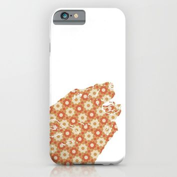 BEAR SILHOUETTE HEAD WITH PATTERN iPhone & iPod Case by deificus Art
