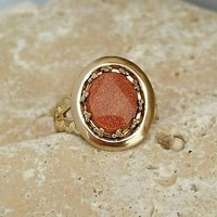 Vintage 10kt Gold (tested) Goldstone Filigree Ring - Retro Boho Chic S 5 1/2