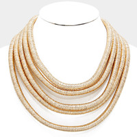 """18""""  5 layer coil choker collar necklace statement basketball wives multi layer bib"""