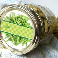 Green Bean Canning Jar stickers or labels, 2 inch round, food preservation, mason jars