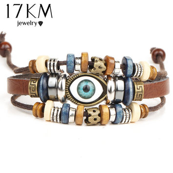 17KM Punk Design Turkish Evil Eye Bracelets Wristband Female Leather Bracelet Ethnic Vintage Jewelry For Women Men Bijouterie
