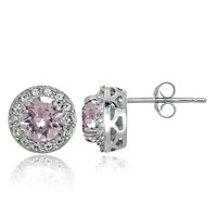 925 Silver Rose & Clear Swarovski Elements October Birthstone Halo Stud Earrings