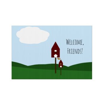 Welcome, Friends! Birds and Birdhouses Drawing Lawn Sign