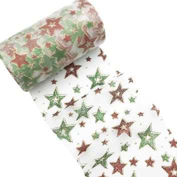 "Red & green Christmas stars 6"" GLITTER mesh tulle fabric"