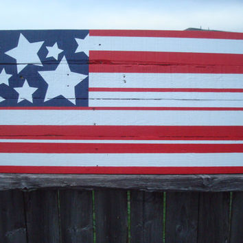 Modern Pop Art Style Artistic Reclaimed Wood American Flag
