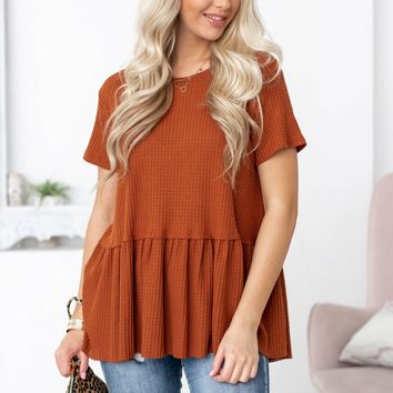 Thermal Babydoll Solid Top | Rust
