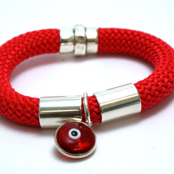 Red Climbing cord bracelet with silver red evil eye, silver plated elements and magnetic clasp, handmade bracelet, jewelry