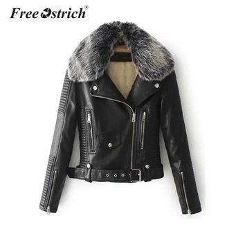 Free Ostrich PU leather jacket 2018 fur collar basic jacket coat outerwear coats Streetwear faux leather coat female women S25