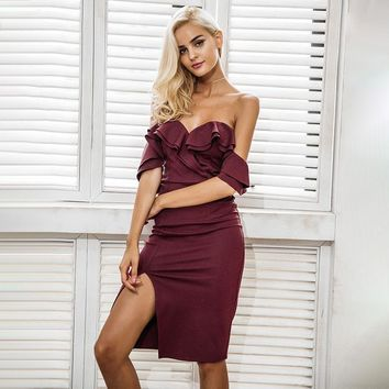 Off Shoulder Ruffle Split High Waist Elegant Wine Red Party Dress