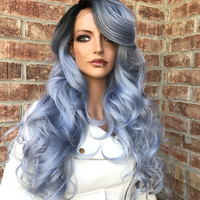 """Blue Silver Lace Front Wig 26"""" Sale Nikki Bella Hair"""
