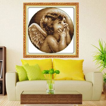 Needlework,Cross stitch,Embroidery ,Looking angel Patterns Counted Cross-Stitching,Christmas, Decor
