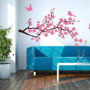 Cherry Blossom Branch with Birds Vinyl Wall Decal Sticker