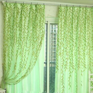 MDIGYN5 Super Deal Willow Tulle Door Window Curtain Drape Panel Sheer Scarf Valances 100X200cm XT