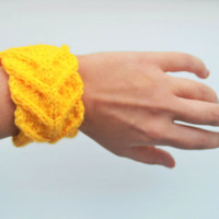 FREE SHIPPING knitted bracelet, knit jewellery, yellow bracelet