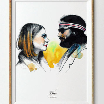 Margot & Richie Tenenbaum Poster - Wes Anderson - The Royal Tenenbaums - Print Art Wall art Movie Lovers Illustration Graphic Design Art
