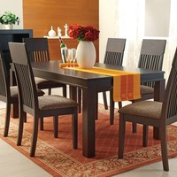 7 pc Medora espresso finish wood dining table set with fabric upholstered seats and slatted back chairs