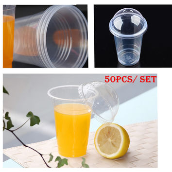 50 pcs / set Clear Disposable Plastic Tea Cup Coffee Cups 16oz with Lids for Iced Coffee Bubble Boba Smoothie