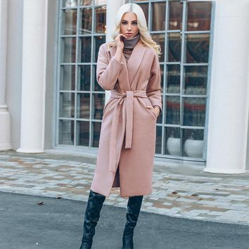 Pink Belt Wool Winter Coat Womens 2017 Solid Long Sleeve Pockets Long Winter Parka Cardigan Fashion Warm Overcoat Female