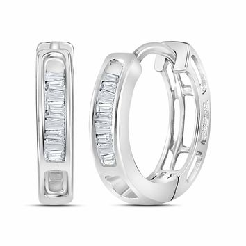 10kt White Gold Women's Baguette Diamond Huggie Hoop Earrings 1/6 Cttw