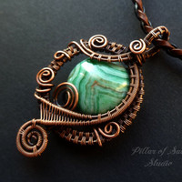 Wire wrapped pendant, Wire Wrapped jewelry handmade, copper jewelry, wire jewelry, green crazy lace agate, earthy jewelry woven wire jewelry
