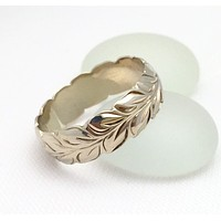Hawaiian Ring - Hand Engraved 14k White Gold Barrel Ring (6mm width, Barrel style)