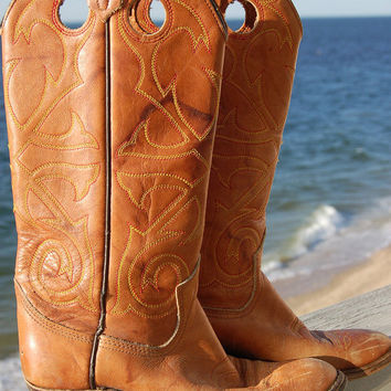 Vintage 70s TALL BOOT Distressed Caramel LEATHER Cowboy Size 5M