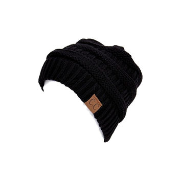 Thick Slouchy Knit Beanie, Black
