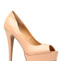 Nude Faux Patent Leather Peep Toe Platform Heels