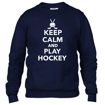 Keep calm and play Hockey Crewneck sweatshirt