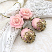 Gilded Light Pink Resin Rose Earrings - Victorian Inspired Pink Cabochon Earrings with Antiqued Brass and Swarovski Crystal - Spring Jewelry