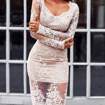 New White Patchwork Lace Long Sleeve Round Neck Elegant Prom Evening Party Midi Dress
