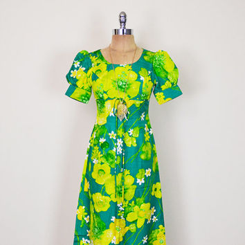 Vintage 70s Green Floral Dress Floral Print Dress Hawaiian Dress Luau Dress Floral Maxi Dress 70s Dress 70s Hippie Dress XXS Extra Small