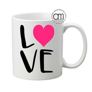 Love Coffee Mug, I Heart You Wine Glass, Wedding Coffee Mug, Bride to Be Mug, Future Mrs., Valentines Day Mug