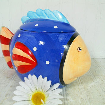 Golden Girls Ceramic Blue Fish Cookie Jar - Vintage Coco Dowley Polka Dot Happy Face Red Stripe ClownFish Retro Pottery Art 2 Piece Canister