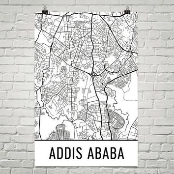 Addis Ababa Ethiopia Street Map Poster