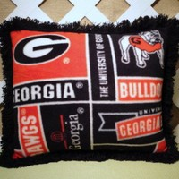 Georgia Bulldogs Fleece Pillow in Red and Black Print/ Collegiate