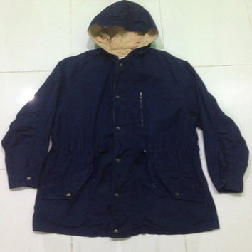 vintage United Colors Of Benetton parka jacket / hooded /  zipper jacket LARGE size navy blue colour