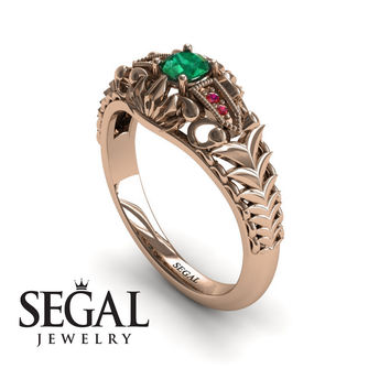 Unique Engagement Ring 14K Red Gold Vintage Victorian Ring Edwardian Ring Filigree Ring Green Emerald With Ruby - Cadence