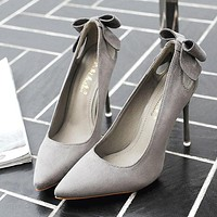Fashionable women's shoes bow-tied suede heels pointed stilettos Gray