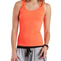 Coral Racerback Mesh Cut-Out Tank Top by Charlotte Russe