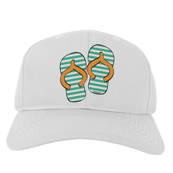 Striped Flip Flops - Teal and Orange Adult Baseball Cap Hat