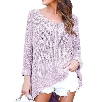 Chicloth Gray Oversized Knit High-low Slit Side Sweater