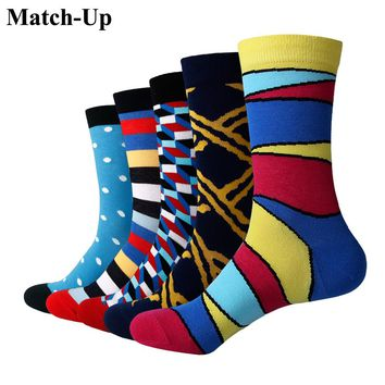 Match-Up Men Color geometric Cotton  Socks  Art Patterned Casual Crew Socks 5-Pack Shoe Size 6-12