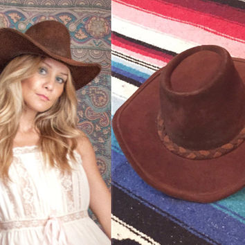 Vintage Brown Suede Leather Western Hat | Outback Hat Mens Womens medium | Southwestern Australian Rancher Cowboy Hat Braided Boho Chic Hat
