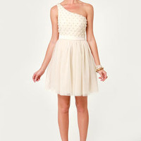 Only Pearls in the World One Shoulder Cream Dress