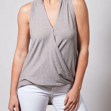Cool Gray Cross-Over Sleeveless Top