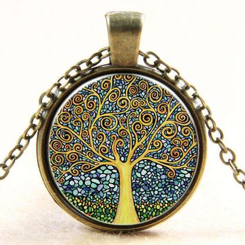 LMFUS4 Vintage Time Stone Necklace Colorful Tree Of Life Necklace Steampunk Jewelry Short Necklace