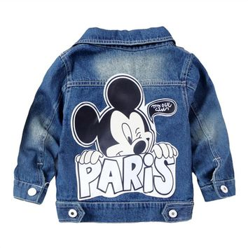 Dulce Amor Kid Denim Mickey Jacket Coat Fall Children Fashion Cartoon Outerwear Baby Boys Girls Clothes Hole Jeans Coat Tops