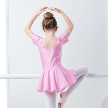 Girls Children Summer Shiny Spandex Short Sleeve Dance Dress Kids Gymnastics Ballet Skirted Leotard